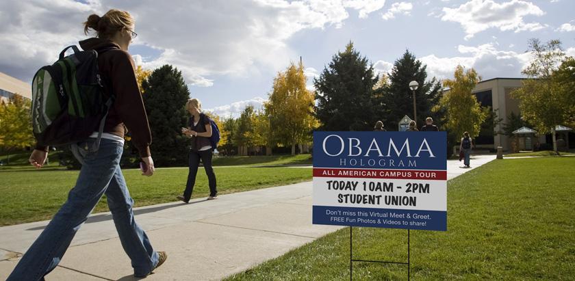 Obama Hologram Lawn Sign